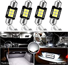 HOCOLO 4x CanBus Festoon 31mm LED Bulb For Interior Car Lights Dome/Map/License Plate/Parking/Door/Trunk/Courtesy Lamp -Error Free LED DE3175 DE3021 DE3022 White (4pcs Canbus Festoon 31mm-5050-6SMD)