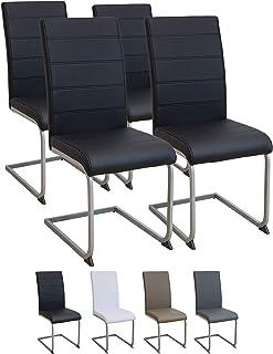 Albatros Silla Cantilever Murano Set de 4 sillas Negro, SGS Probado