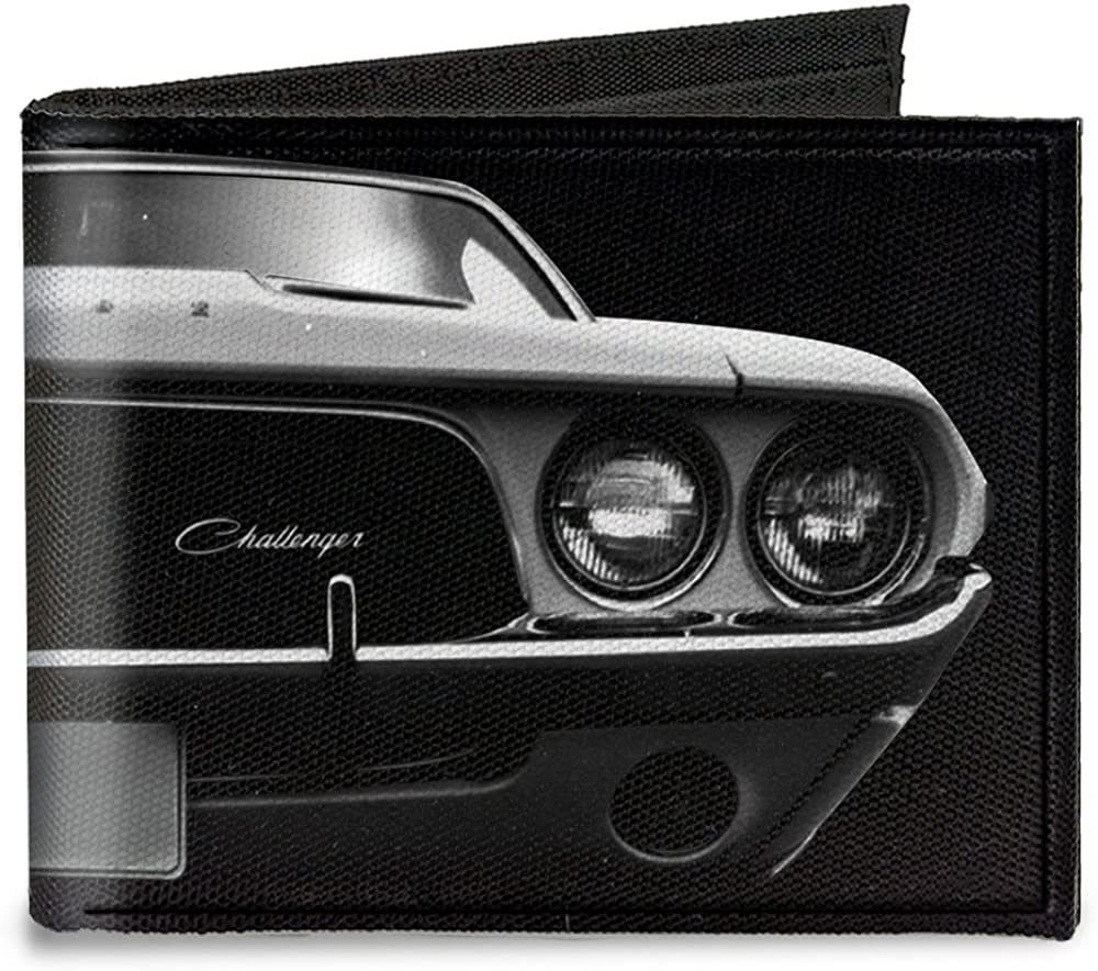 Buckle-Down Canvas Bi-fold Wallet-1976 Challenger Black & White
