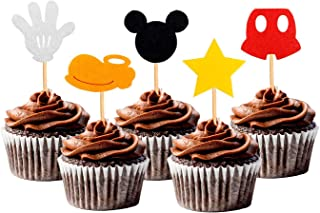 30PCS Mickey Inspired Cupcake Toppers Kids Birthday Party Cake Decoration Supplies