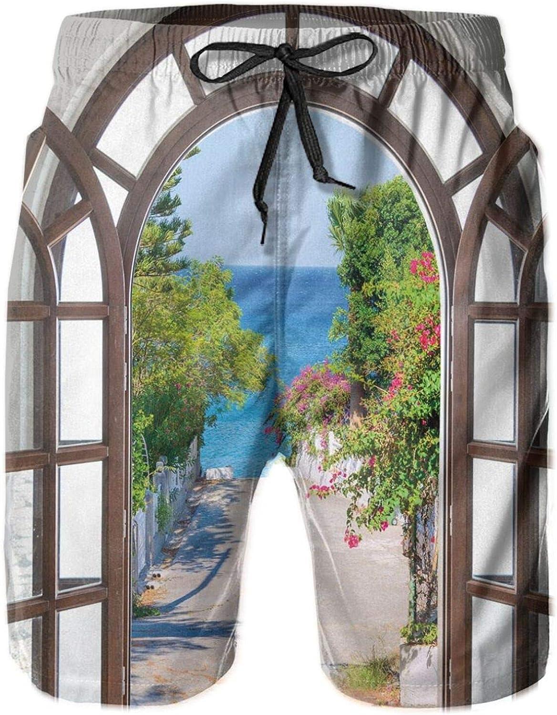 Ocean Sea View from Summer Season Italian Design in Garden Image Drawstring Waist Beach Shorts for Men Swim Trucks Board Shorts with Mesh Lining,L