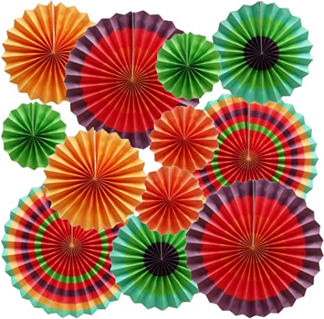 Set of 12 Green Cdycam Hanging Paper Fans Multi-Color Vibrant Party Decorations Round Pattern Paper Garlands for Baby Shower//Party//Wedding//Birthday//Festival//Christmas//Event and Home Decor