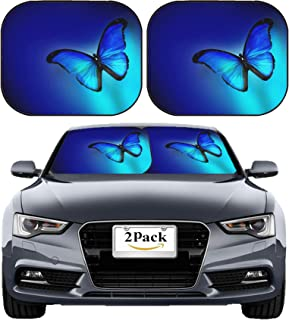 MSD Car Sun Shade Windshield Sunshade Universal Fit 2 Pack, Block Sun Glare, UV and Heat, Protect Car Interior, Image ID: 33249860 Blue Butterfly on Dark Blue Background