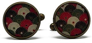 2 gemelli polsino bottoni resina Giappone rosa verde kaki bianco ottone bronzo regalo personalizzato natale compleanno mat...