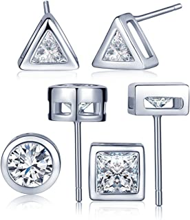 Orecchini semplici per donne signore e ragazze Colore: argento in argento Sterling 925 Infinite U orecchini a lobo a forma di barretta