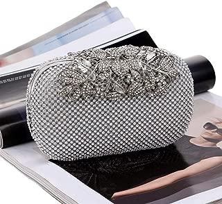 Redland Art Women's Fashion Sparkly Crystal Mini Clutch Bag Wristlet Evening Handbag Catching Purse Bag for Wedding Party (Color : Silver)