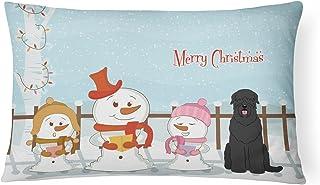 "Caroline's Treasures BB2357PW1216 Merry Christmas Carolers Black Russian Terrier Canvas Fabric Decorative Pillow, 12"" H x ..."