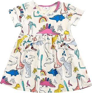 Toddler Kids Girl Summer Skirt Clothes Short Sleeve Round Collar Cute Dinosaur Printed Onesies Dress Outfits