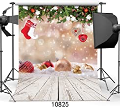 WOLADA 5x7ft Christmas Photography Backdrop Xmas Ball with Wood Floor Vinyl Newborn Photo Background Party and Event Studio Prop 10825