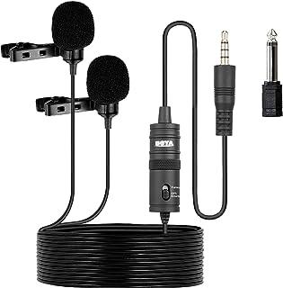 ميكروفون مزدوج من بويا BY-M1DM، ميكروفون مكثف متعدد الاتجاهات بمشبك للتثبيت بالملابس، للاستخدام مع iOS ايفون، موبايلات الـ...