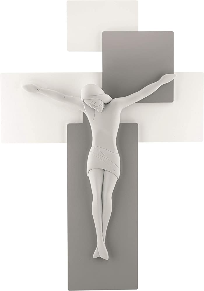Grande crocifisso capezzale da parete 60x40 moderno con  cristo realizzato in marmorino ME12104GB