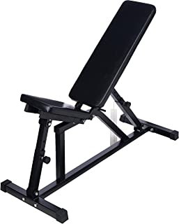 Popsport 440/660LBS Folding Sit Up Bench Adjustable AB Incline Flat Weight Bench Foldable Fitness Training Weight Bench with Adjustable Seat for Full Body Workout (440LBS)