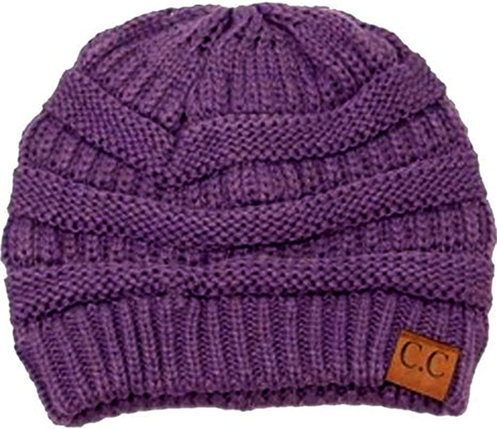 Cambridge Select Women's Black Thick Slouchy Knit Oversized Beanie Cap Hat One Size Purple