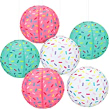 6 Pieces Donut Party Hanging Paper Lanterns Baby Shower Donut Lanterns for Baby Shower Kids Birthday Party Ice Cream Party...
