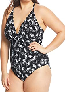 Plus Size One Piece Swimsuit Tummy Control Petal Pusher Scalloped Maillot Black 16W