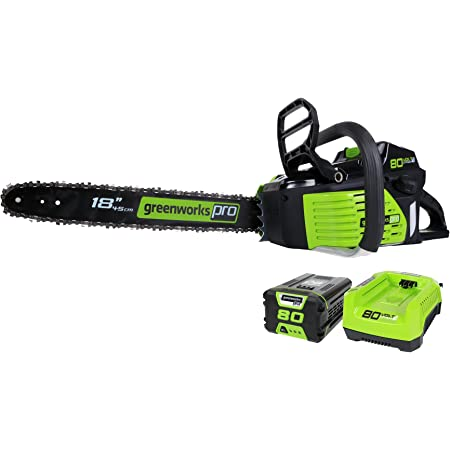 Greenworks Pro 80V 18-Inch Brushless Cordless Chainsaw, 2.0Ah Battery and Rapid Charger Included GCS80420