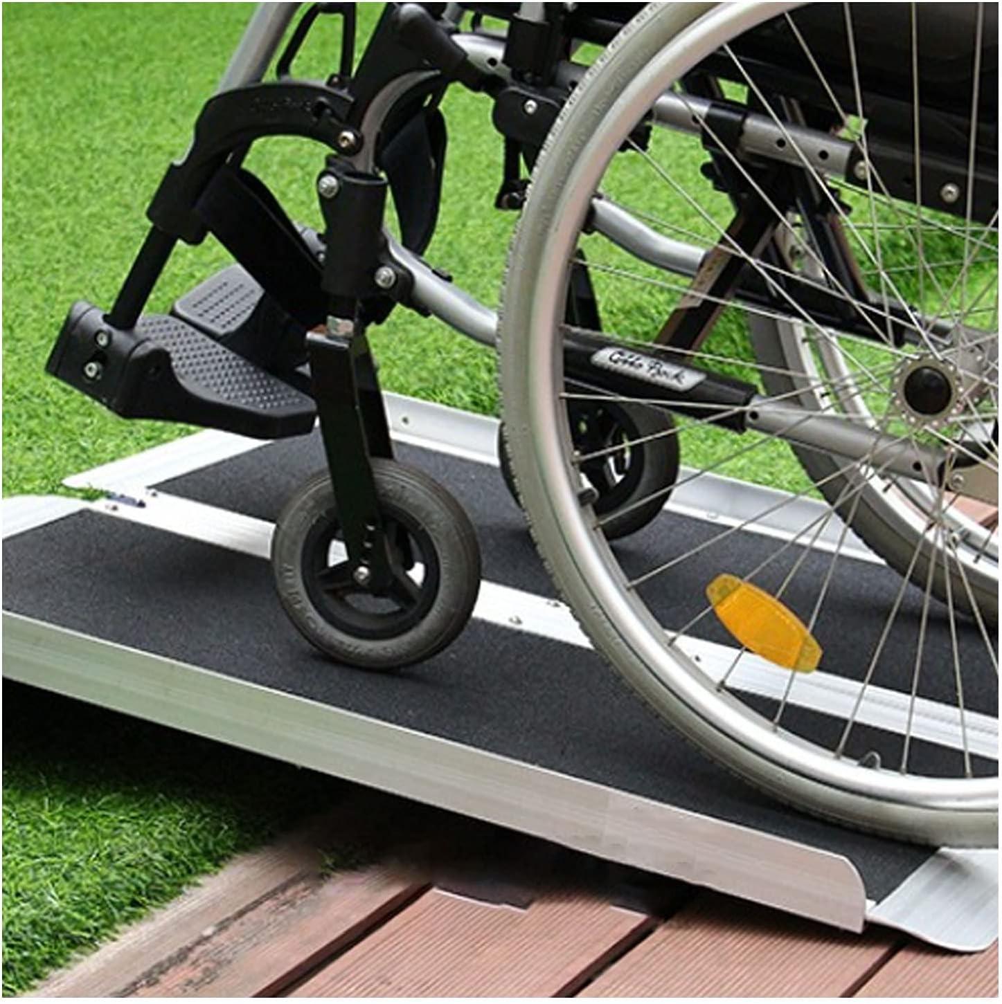 LIPINCMX Rampa de Silla de Ruedas Mejorada Rampa de Silla de Ruedas portátil de Aluminio Resistente con Superficie Antideslizante Innovadora rampa de umbral Ancho para sillas de Ruedas, Scooters