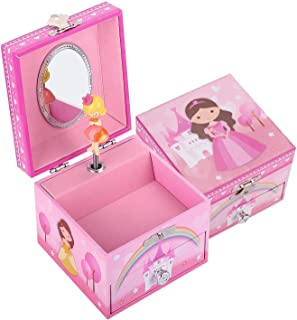 TAOPU Sweet Square Musical Jewelry Box with Pullout Drawer and Spinning Princess Girl Figurines Music Box Jewel Storage Ca...