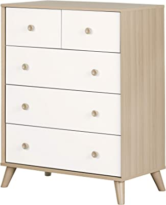 South Shore Yodi 5-Drawer Chest-Soft Elm and Pure White