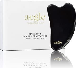 aegle Gua Sha Beauty Tool - Elegant Heavy Facial Anti Aging Acupressure Scraping Massager - Rejuvenating Nourishing & Brightening - 100% Authentic Bian Stone Premium Quality - FREE Gua Sha Guide