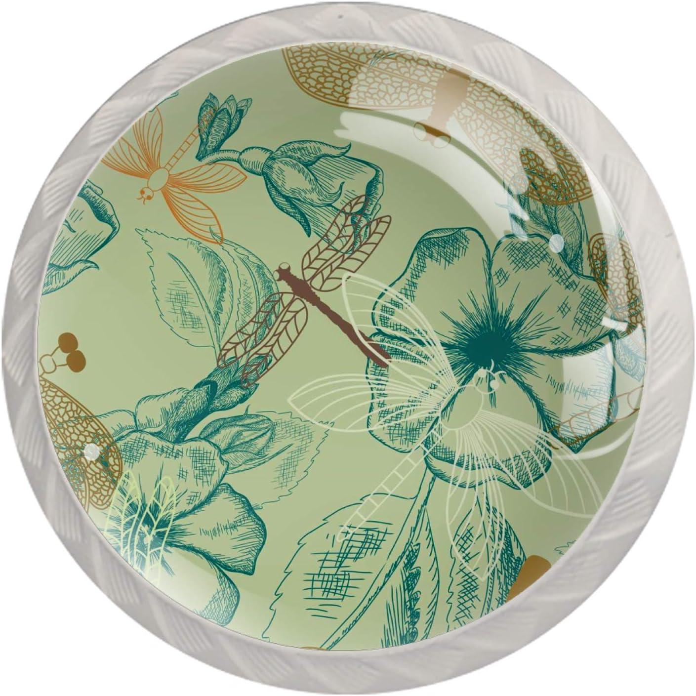 Set Ranking TOP14 of 4 Glass Knobs Color Cabinet Desig Design Vintage New item