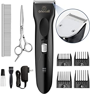 oneisall Dog Clippers for Thick Coats, Professional Powerful Grooming Kit Low Noise Cordless Hair Clipper Trimmers Shaver ...