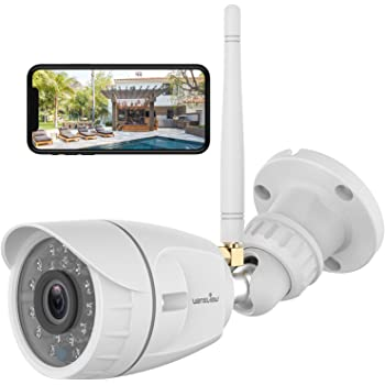 Outdoor Security Camera, Wansview 1080P Wireless WiFi Home Surveillance Waterproof Camera with Night Vision, Motion Detection, Remote Access, Compatible with Alexa-W4, White