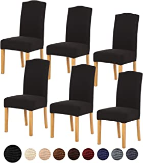 TIANSHU Stretch Chair Cover for Home Decor Dining Chair Slipcover (6 Pack, Black)