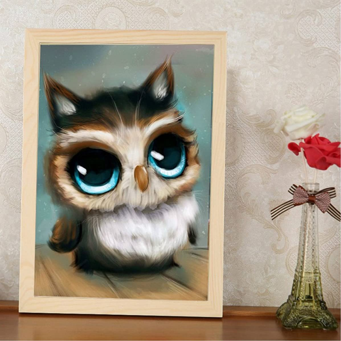 Miss 2 DIY 5D Full Drill Diamond Sticker Cross Stitch Painting Kits for Adult and Children Arts Crafts Home Decor Owl Bird 30 x 20cm (11.8