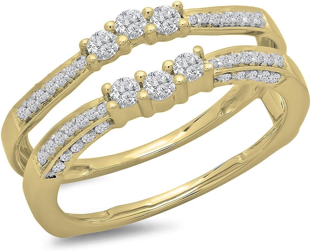 0.50 Carat (ctw) 14K Gold Round Cut Diamond Anniversary Wedding Band Enhancer Guard Double Ring 1/2 CT