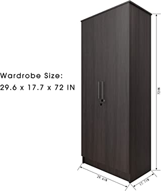 CozyCasa Armoire Wardrobe Wooden Closet Clothes Cabinet Storage with 2 Doors, Shelves, Hanging Rod, Wood Wardrobe Closet for Bedroom, Finish in Dark Brown