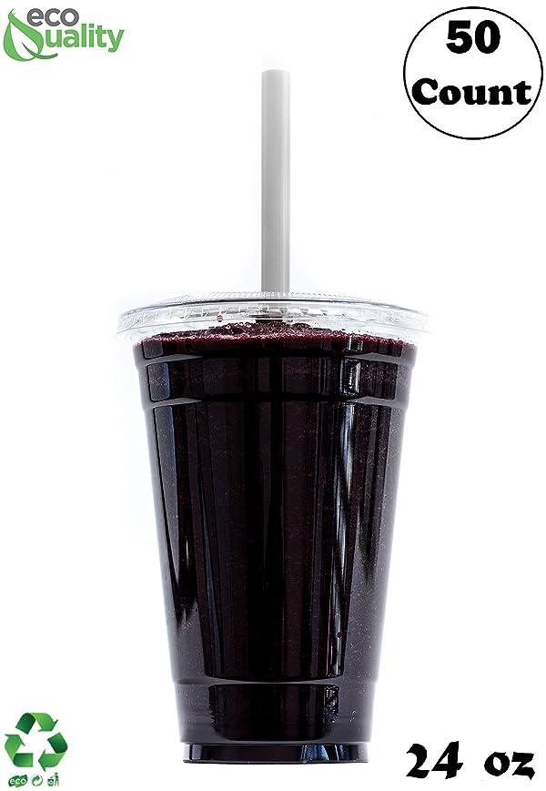 意見ところでレルムクリアプラスチック使い捨てカップwith Lids and Smoothie Straws 50カウント?–?24?oz (オンス) クリアペットカップのスムージー、タンパク質Shakes、Bubble Tea、アイスコーヒー、Boba、フレッシュジュース、Meal Prep、パーティーカップ