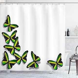 Ambesonne Jamaican Shower Curtain, Buterflies Flag Motifs Caribbean Animal Illustration Rasta Culture Print, Cloth Fabric Bathroom Decor Set with Hooks, 70