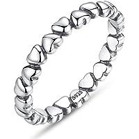 BAMOER Womens Endless Love Heart Stacking Ring