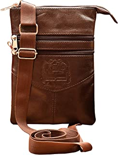 ABYS Genuine Leather Coffee Brown Messenger Bag||Passport Holder||Neck Pouch for Men & Women