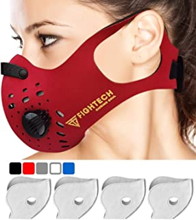 FIGHTECH Dust Mask | Mouth Mask Respirator with 4 Carbon Filters for Pollution Pollen Allergy Woodworking Mowing Running | Washable and Reusable Neoprene Half Face Mask (L/RED)