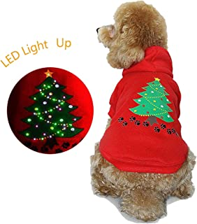 royalwise Christmas Dog Outfit Lighted up Pet Shirt Dog Costume Puppy Pet Hoodie Clothes LED Holiday Doggie Sweater