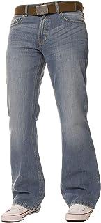 FBM Jeans Pantalon Jean de Travail Bootcut Denim Bleu délavé pour Homme, Coupe Ample, Grandes Tailles