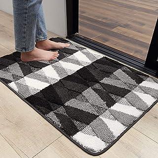 """Indoor Doormat Front Back Door Mat, 32""""x40"""" Water Absorbent Low-Profile Mud Mat Non Slip Large Door Rug for Inside Entrance Machine Washable(Black Diamond)"""