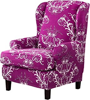 TIKAMI Stretch Wingback Chair Slipcovers Printed Sofa Slipcovers Reversible Furniture Protector Covers(Amaranth Pattern)