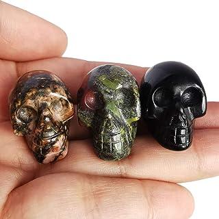 Loveliome Mini Black Obsidian Rhodonite and Dragon Bloodstone Healing Crystal Human Skull, 1 Inch Handcarved Figurine Stat...
