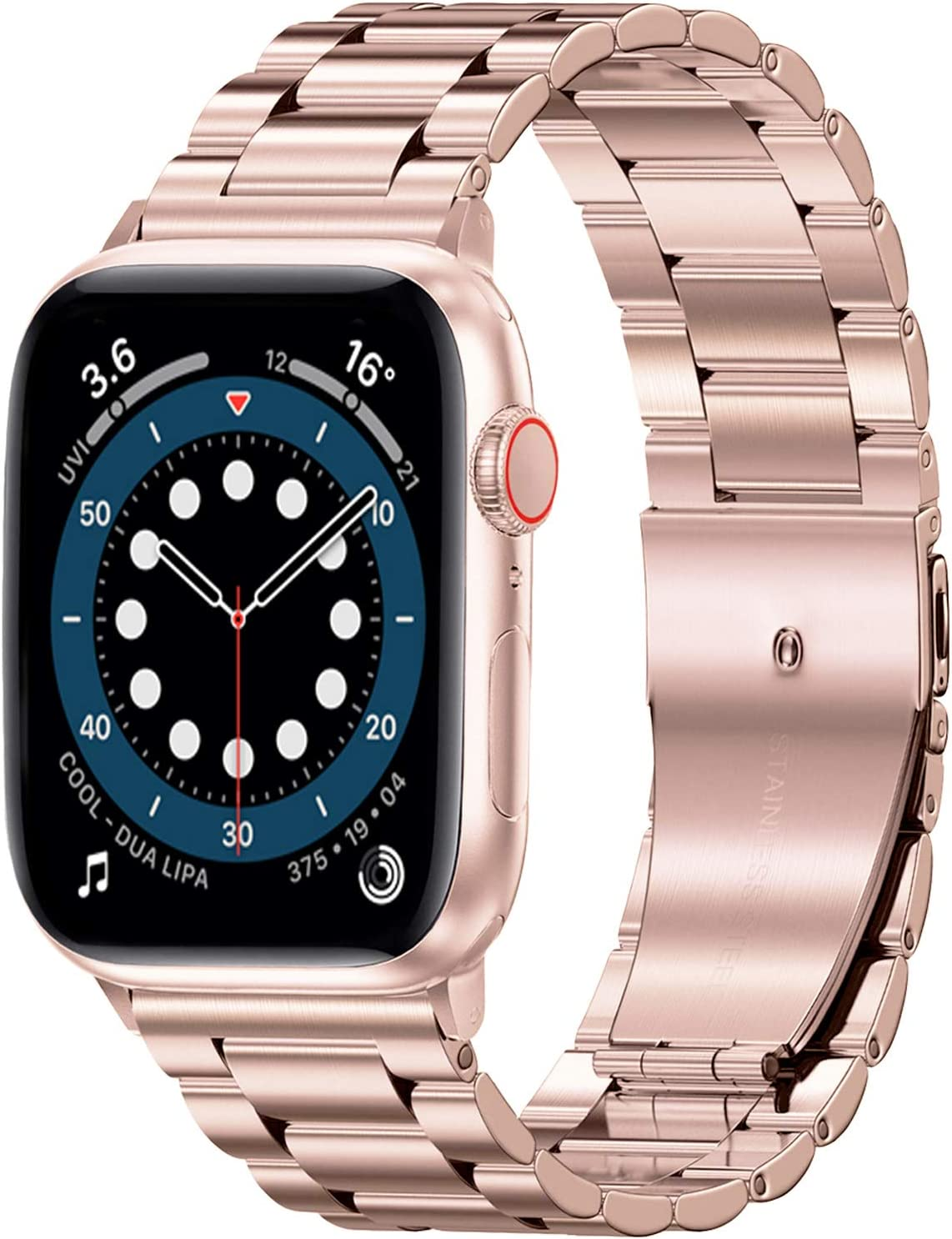 Shangpule Compatible with Apple Watch Band 42mm 44mm 38mm 40mm ,Stainless Steel Metal Wristband Men Women for iWatch SE & Series 6/5/4/3/2/1 (38MM/40MM, Rose Gold)