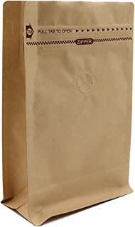 Kraft Paper Stand Up Coffee Bag/Flat Bottom Pouch with Air Release Valve and Reusable Side Zipper. (50, ½lb/8oz)