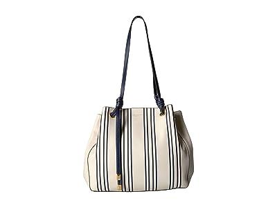 Tory Burch Caroline Printed Carryall (Navy Grand Awning Stripe) Handbags