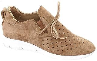 حذاء جلد نوباك مخرم برباط واستك جانبي للنساء من جرينتا