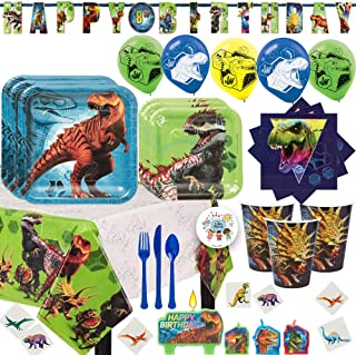 Deluxe Jurassic World Fallen Kingdom Birthday Party Supplies Pack For 16 With Plates, Cups, Napkins, Tablecover, Add An Age Banner, Balloons, Tattoos, Candles, Cutlery and Exclusive Pin