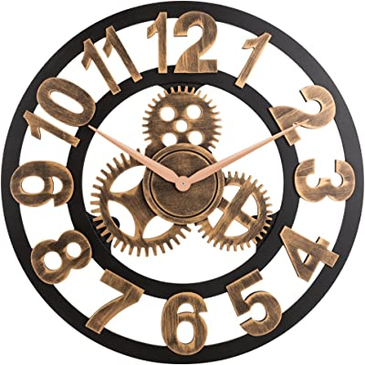 Large Brown Roman Numeral Indoor//Outdoor Clock Modern Time Metal Face Cog Retro