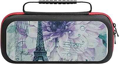$26 » Purple Floral Vintage Paris Eiffel Tower Case Compatible with Switch Case Protective Carry Bag Hard Shell Storage Bag Port...