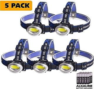 WINNINGO COB Headlamp 2 Value Pack 3W Super Bright 3 Modes LED Headlight Flashlight, Waterproof, Durable & Lightweight, Best Headlamp for Walking, Hiking, Camping, Fishing - Alkaline Batteries Include