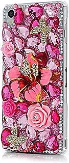 STENES Sony Xperia XA1 Ultra Case - 3D Handmade Crystal Rose Flowers Butterfly Sparkle Rhinestone Design Cover Case for Sony Xperia XA1 Ultra Retro Dust Plug - Red